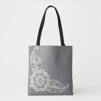 Mandala Flower Tote in Grey and Cream