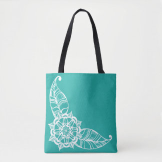 Mandala Flower Tote in Light Teal