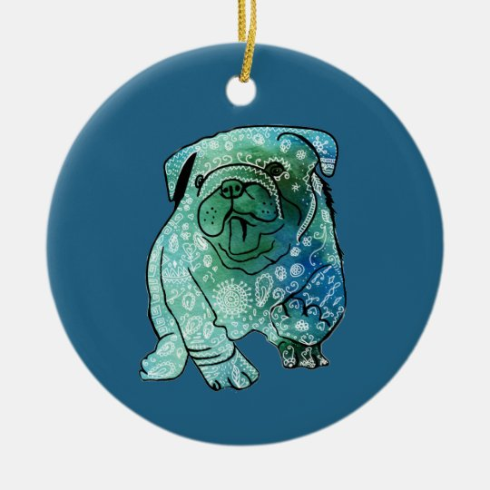 Mandala french Bulldog Circle Ornament