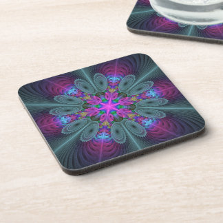 Mandala From Center Colorful Fractal Art With Pink Coaster