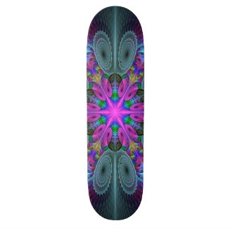 Mandala From Center Colorful Fractal Art With Pink Custom Skate Board