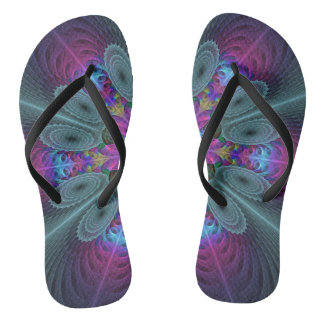 Mandala From Center Colorful Fractal Art With Pink Flip Flops