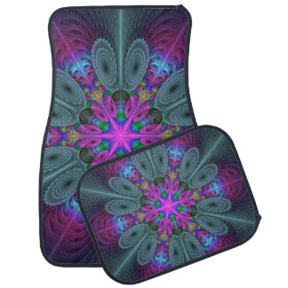 Mandala From Center Colorful Fractal Art With Pink Floor Mat