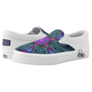 Mandala From Center Colorful Fractal Art With Pink Slip On Shoes