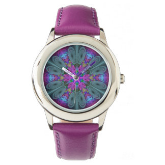 Mandala From Center Colorful Fractal Art With Pink Watch