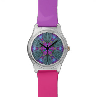 Mandala From Center Colorful Fractal Art With Pink Wrist Watch