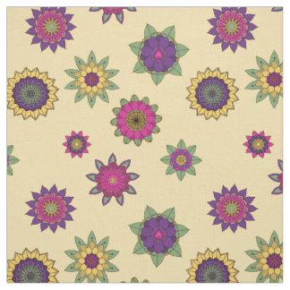 Mandala Garden Flowers on Yellow Background Fabric