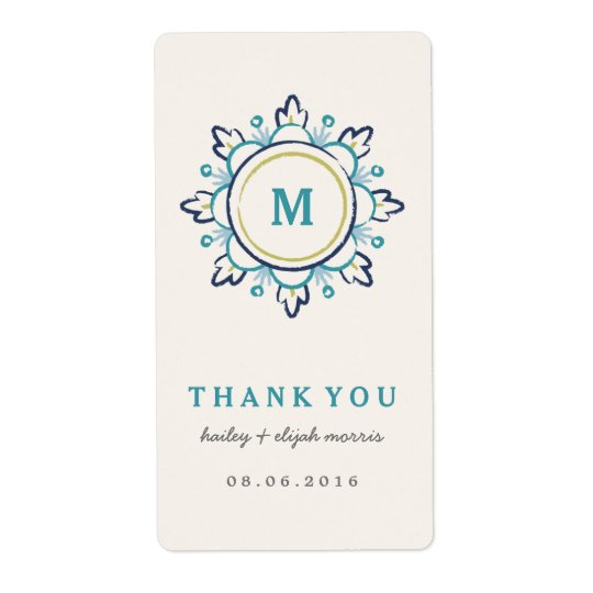 Mandala Gift Tag Label - Teal Shipping Label