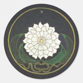 Mandala Golden Flower Round Sticker