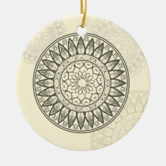 Mandala in Soft Yellow Round Ceramic Decoration