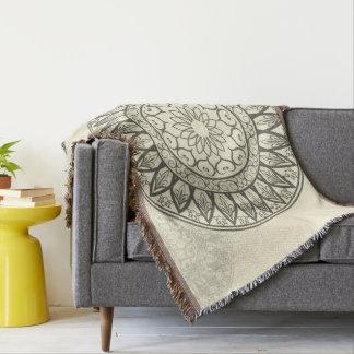 Mandala in Soft Yellow Throw Blanket
