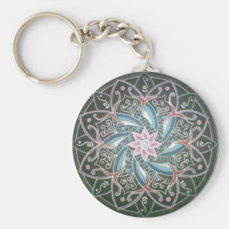 Mandala in the depths of the sea basic round button key ring