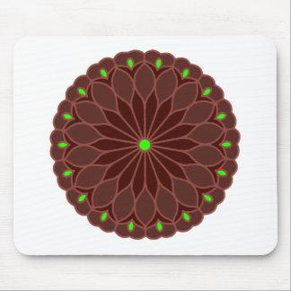 Mandala Inspired Burgundy Wine Flower Mouse Pad