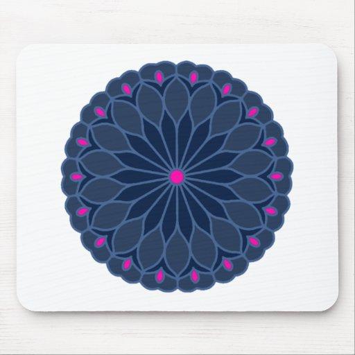 Mandala Inspired Dark Blue Flower Mouse Pad