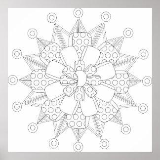 Mandala Inspired Gift Bow Coloring Poster