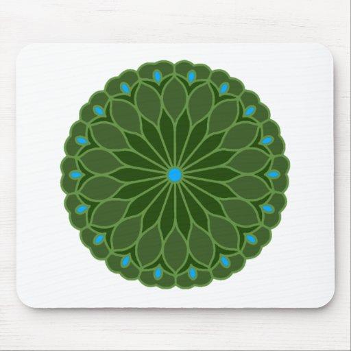 Mandala Inspired Hunter Green Flower Mouse Pads