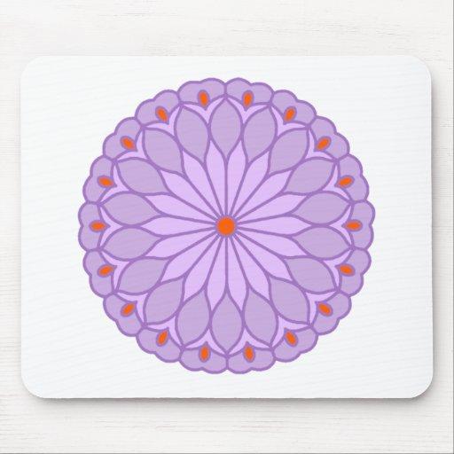 Mandala Inspired Pale Lavender Flower Mousepads