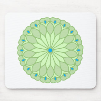 Mandala Inspired Pale Sage Flower Mouse Pads