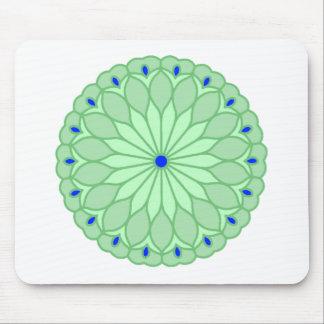 Mandala Inspired Sea Green Flower Mouse Pad