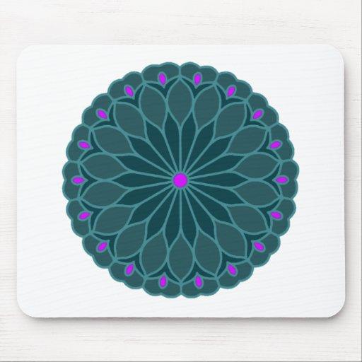 Mandala Inspired Teal Blue Flower Mouse Pad