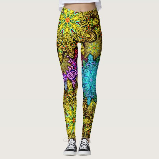 Mandala kaleidoscope printed leggings