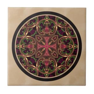 Mandala, Kaleidoscopic Cross Abstract Tile