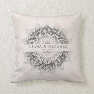 Mandala Lace Wedding Newlyweds Neutrals ID478 Cushion