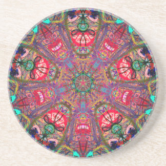 "Mandala ""Laughing"" Sandstone Coaster by MAR"