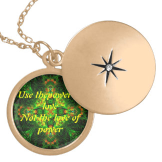 "Mandala Locket with ""Power of Love"" inscription"