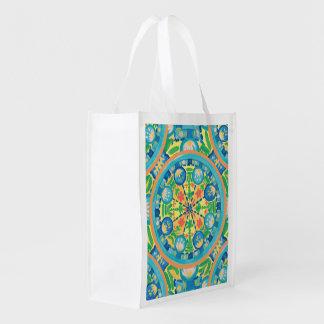 Mandala lotus green bag