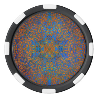 mandala magic blue poker chips set