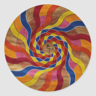 "Mandala mantra ""COM mani peme hung "" Round Stickers"