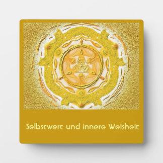 Mandala Meditationsplatte, small IN the gold Plaque
