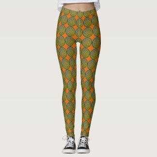 Mandala Mosaic Circle Pattern Orange & Green Leggings