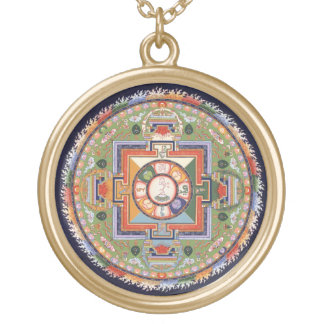 Mandala of Chenrezig (Avalokiteshvara) Compassion Gold Plated Necklace
