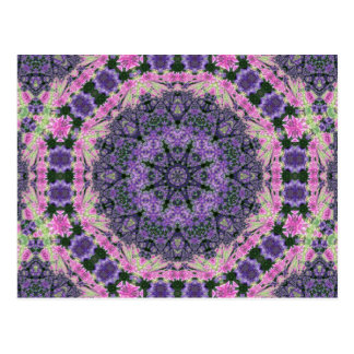 Mandala of pink and purple flowers post card