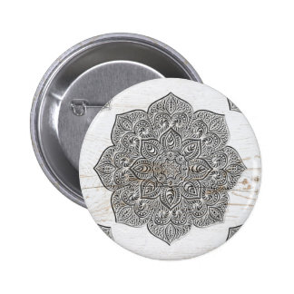 Mandala on white wood 6 cm round badge