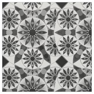 Mandala pattern , black, white and gray / grey fabric