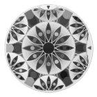 Mandala pattern , black, white and grey / grey ceramic knob
