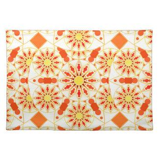 Mandala pattern, brick red, rust, gold place mat