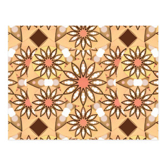 Mandala pattern, caramel tan, chocolate brown postcard