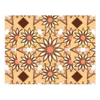 Mandala pattern, caramel tan, chocolate brown postcards