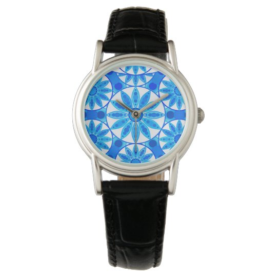 Mandala pattern, cobalt blue, turquoise and white watch