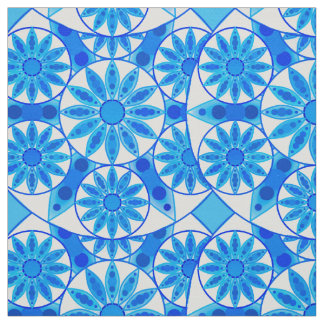 Mandala pattern, cobalt, turquoise and white fabric
