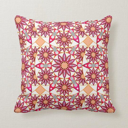 Mandala pattern, coral, peach, white and grey cushion