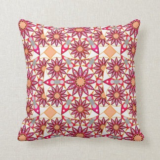 Mandala pattern, coral, peach, white and grey cushion
