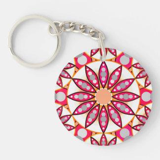 Mandala pattern, coral, peach, white and grey Single-Sided round acrylic key ring