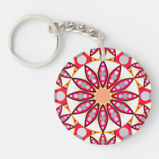 Mandala pattern, coral, peach, white and grey Single-Sided round acrylic key ring