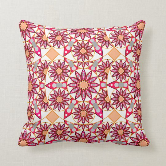 Mandala pattern, coral, peach, white and grey throw