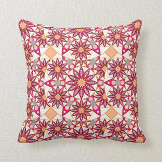 Mandala pattern, coral, peach, white and grey throw pillow